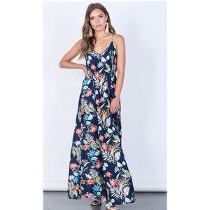 Nwt tropical navy Maxi dress Small